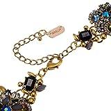 Jerollin Fashion Goldketten bunt perlen Kristall Strass Halsband Anhaenger Halskette Statement-Kette elegant Choker Halsreif Collier Trachtenschmuck weihnachten geschenk