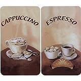 Wenko 2521280100 Herdabdeckplatte Universal Kaffee, Gehärtetes Glas, Mehrfarbig, 2er Set