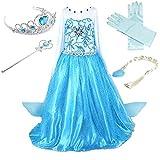 Prinzessin Kostüm Kinder Glanz Kleid Mädchen Weihnachten Verkleidung Karneval Party Halloween Fest (110 (Körpergröße 110cm), Elsa #02 und 4 Zubehör)