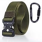 GRULLIN MOLLE Taktische Rigger Gürtel militärischen Schnellverschluss Schnalle Werkzeuggürtel, 3.2CM Nylon Web EDC Waistbelt, Ideal für Jeans, Cowboy, Casual & Work Wear(Armeegrün)
