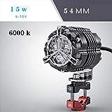 Aione 32mm 42mm 54mm15W Motorradbeleuchtung Zubehör Scheinwerfer LED Super Helle Motocross Zusatzblitzleuchten Rot Gelb Licht,Black,54mm