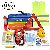 QLOUNI 12-in-1 Auto Notfall-Werkzeugset Pannenhilfe Set Auto Sicherheit Kit mit Aufbewahrungstasche Pannenwerkzeugset wie Starthilfekabel,Abschleppseil,Warndreieck, Taschenlampe,Sicherheitshammer usw.