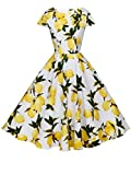 FAIRY COUPLE 1950S Retro Rockabilly Tupfen Kappen Hülsen Abschlussball Kleid DRT019(2XL,Weiße gelbe Früchte)