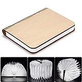 Große LED Buch lampe Holzbuch mit 2500 mAh Akku Lithium Nachttischlampe Nachtlicht dekorative Lampen Ölbildscheibe Papier + Holz Einband weiß Licht, Maße 22x3x17.5 cm