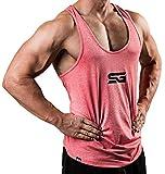 Satire Gym Fitness Stringer Herren - Funktionelle Sport Bekleidung - Geeignet Für Workout, Training - Tank Top (rot meliert, S)