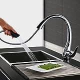 Homelody Chrom Wasserhahn küche Ausziehbar Küchenarmatur Brause mit 360° drehbar Armatur Mischbatterie Spültischarmatur Spültischbatterie Küchenmischer Spülbeckenwasserhahn