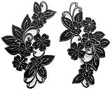 b2see Iron on Bügel Blumen Aufnäher Aufbügler Patches Flicken Sticker Bügelbilder Applikation groß Set Kleidung Blume 15 cm 2 STK schwarz Silber je 18 x 9 cm