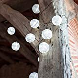 10er LED Solar Lampion Lichterkette weiß