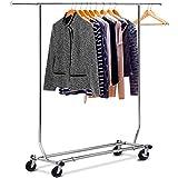 Yaheetech Edstahlstahl Kleiderständer auf Rollen 113 kg Stabiler Kleiderstange Wäscheständer höhenverstellbar zusammenklappbar