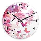 Wanduhr mit Motiv mit Schmetterlingen für Mädchen | Kinderzimmer-Uhr | Kinder-Uhr