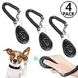 Foonii 4pc Profi Clicker,Finger Clicker für Hundeerziehung,mit Sprialband Clickertraining für Hund, Katze, Papagei,Pferd, Haustier(Schwarz )