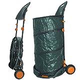 Agora-Tec Laubsack / Gartensack 160l selbstaufstellend fahrbar mit Rädern und faltbahr inkl. Halterung für Laubbesen und Besen