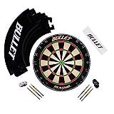 Bullet Großes Dart Turnier Set, Dartboard aus Brasilianischen Sisal, 6 Steeldarts, Surround Ring und Wurflinie - In Schwarz
