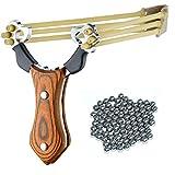 SET: Umarex Profi Stein-Schleuder aus Stahl und mit Holz-Griff und Gummiband + 100 Oramics Stahlkugeln Munition