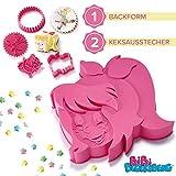 Coolinato Bibi Blocksberg 3D-Backset - Exklusiv Besondere Kuchenform für Geburtstag, Kinderparty, Hexen-Mottoparty - Spülmaschinenfeste Silikon Backform und 2 Keksausstecher mit Prägemuster