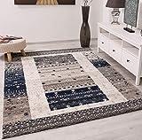 | Gabbeh Stil Nomadenmuster Bordüre | Designer Kurzflor Teppich | Öko-Tex Siegel | Farben: Blau; Grau | Wohnzimmer/Esszimer/Schlafzimmer