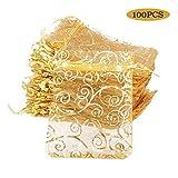BUONDAC (8 * 11cm) 100 Stücke Organzabeutel Hochzeit Weihnachten Taufe Organzasäckchen zum befüllen Säckchen für Lavendel Geschenkbeutel Organza Schmuckbeutel klein (Golde Farbe (Gold Muster))