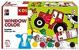 Marabu 0306000000010 - Kids Window Color Farmer, Farbe auf Wasserbasis, ablösbar auf glatten Flächen wie Glas, Spiegel, Fliesen und Folie, 6 x 80 ml Farbe, Malvorlage A3 mit 25 Motiven und Folie A4