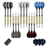 moonlux Dartpfeile Steel, 15 Stück Darts Pfeile Set Dartpfeile mit Metallspitze Steeldart Pfeile Brass Darts, Aluminium Schäfte, (Schleifstein für Metallspitze Enthalten)
