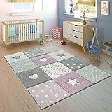 Paco Home Kinderteppich Kinderzimmer Punkte Herzen Sterne Pastell versch. Farben u. Größen, Grösse:80x150 cm, Farbe:Lila
