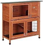 Bunny Business Stall für Kaninchen / Meerschweinchen, 2Ebenen, mit Auslauf