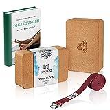 NAJATO Sports Yoga Block Kork 2er Set - Wählbar mit Yogagurt aus 100% Baumwolle - Umweltfreundlicher Yogaklotz - Mit Übungsanleitungen als Ebook