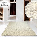 Hand-Web-Teppich | Reine Schur-Wolle im Skandinavischen Design |Für Wohnzimmer Esszimmer Schlafzimmer Flur Kinderzimmer | Grau Beige (Sand - 60 x 90 cm)