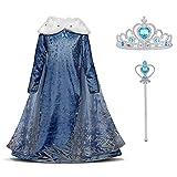 URAQT Mädchen Eiskönigin ELSA Blau Schneeflocke Kleid mit Plüschkragen, Kinder Prinzessin Kostüm,Karneval Party, Verkleidung Halloween Fest, Paket Beinhaltet Kleid Handschuhe Krone Zauberstab