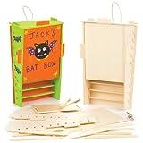 Bastelsets Fledermauskasten aus Holz für Kinder als Bastel- und Deko-Idee zum Gestalten für Jungen und Mädchen (2 Stück)