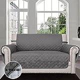 Sofaschoner,Sofa Schutz Abdeckung,Schonbezug,Sofaüberwurf, Sofabezug,Rutschfest,Reversible Gesteppte, Pet,HaustierAbdeckung(2-Sitzer,Gray/Light Gray)