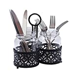 Tablecraft Farmhouse Collection Besteck-Halter, inkl. 3 x Glas Mason Set Sturzglas, Pulver, Rack, 650 ml (22 Oz), schwarz