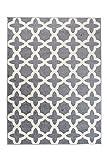 Tapiso MAROKO Teppich Modern Kurzflor Designer Geometrisch Diamant Karo Gitter Muster Grau Creme Wohnzimmer ÖKOTEX 180 x 260 cm