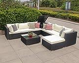 Enjoy Fit Polyrattan Gartenmöbel Sitzgruppe Lounge Sitzgarnitur inkl. Sessel Sofa Tisch Hocker/frei erweiterbar! (1 x Ecksofa)