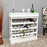 ts-ideen Weinregal weiß für 24 Flaschen Flaschenregal weißes Holz Regal Weinablage Board