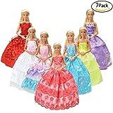 7er Pack Kleider & Kleidung für Barbie-puppe Handmade Modisch Hochzeit Party Abendkleid Kleider & Kleidung