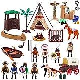 deAO Deluxe Wild West Actionfiguren Spielset mit Pferdewagen, Tieren und Tipi mit Licht, Musik und diversem Zubehör