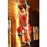 Weihnachtsmann auf Leiter 120/200cm mit LED beleuchtet innen/außen von Gartenpirat