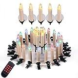 Yorbay 30er Set LED Kerzen kabellos in RGB/Warmweiß Dimmbar mit Fernbedienung mit Timerfunktion, als Weihnachtsdekoration für Weihnachten, Weihnachtsbaum, Hochzeit, Partys