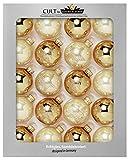 HEITMANN DECO Krebs & Sohn 20er Set Glas Christbaumkugeln - Weihnachtsbaum Deko zum Aufhängen - Weihnachtskugeln 5,7 cm - Gold