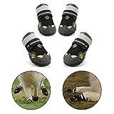 Royalcare Hundeschuhe Schutzstiefel Netzgarn atmungsaktiv Haustier Schuhe mit verschleißfesten und robusten Anti-Rutsch-Sohle geeignet für mittlere bis große Hunde (schwarz) (4#)