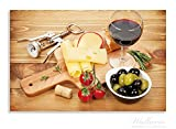Wallario Herdabdeckplatte / Spritzschutz aus Glas, 2-teilig, 80x52cm, für Ceran- und Induktionsherde, Motiv Genuss am Abend - Rotwein, Käseplatte, Oliven und Tomaten