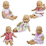 ZITA ELEMENT 5er Süße Puppenkleidung Kleidung Kleider für 35-46cm Babypuppe American Girl Doll Mädchen Rocks Puppenkleid
