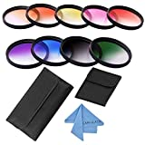 Graduated Color Filter Kit, CAM-ULATA 58mm Gradual Color Filters Set with Wallet Filter Pouch for Canon Nikon Fujifilm Pentax Olympus Sony NEX-6 NEX-7 Alpha A7 A7R A7S A7 II A5000 A6000 DSLR Camera
