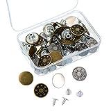 40 Set Jeansknöpfe Metallknöpfe Snap Button für Jeans mit Aufbewahrungsbox, 2 Muster, Bronze und Silber Farbe