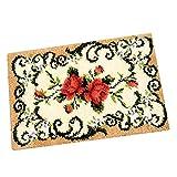 IPOTCH Knüpfteppich Formteppich für DIY Handarbeit Teppich mit Vielen schönen Muster, 50x36cm - Blumen