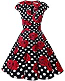 bbonlinedress 1950er Vintage Retro Cocktailkleid Rockabilly V-Ausschnitt Faltenrock Black White Rose 2XL