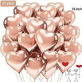 XUNKE Herz Folienballon, 25 Stück Herz Helium Luftballons Herzluftballons Heliumballon Folienballon Hochzeit Folienluftballon Geeignet für Geburtstag Brautdusche Valentinstag(Rosegold-25pcs)