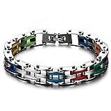 JewelryWe Schmuck Herren Edelstahl Armband, Punk Rock Armkette Handgelenk Fahrradkette 20.7cm, Silber Mehrfarbig