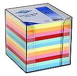 Wedo 2702651 Zettelbox Kunststoff (9  x 9 cm, rauchglas gefüllt, circa 700 Blatt, 6 farbig)