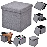 COSTWAY Sitzhocker mit Stauraum Sitzwürfel Sitzbox Sitzbank Aufbewahrungsbox Ottomane faltbar Farbwahl 38x38x38cm (grau)